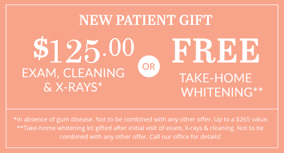 $125.00 Exam and cleaning or Free Take-home Whitening Kit
